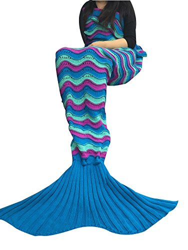 "FADFAY Colorful Mermaid Crochet Blanket For Kids 28""59"",Wavy"