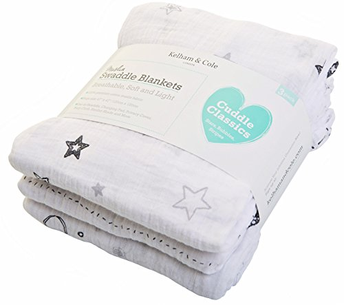 Multipurpose Swaddling and Receiving Blankets – Kelham and Cole Muslin Baby Swaddle Blankets White/Grey 3 Pack. Extra Large 47 X 47 Inch Softest and Breathable Gender Neutral Cotton Swaddles