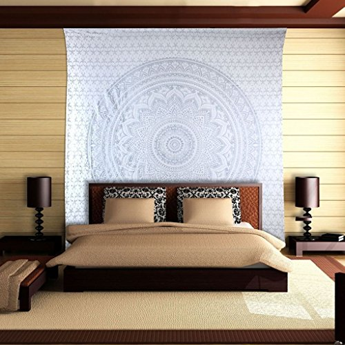 Gray Ombre Tapestry Mandala Tapestry, Queen Size, Multi Color Indian Mandala Wall Art, Hippie Wall Hanging, Bohemian Bedspread by Fashion-us