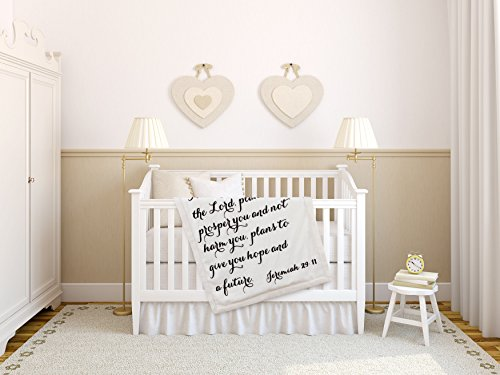 Luxuriously Soft Scripture Throw Baby Blanket | Jeremiah 29:11 | 30×40 inches Ivory