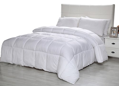 Equinox Comforter – 350 GSM White Alternative Goose Down Duvet King – Hypoallergenic, Plush 350GSM Siliconized Fiberfill, Box Stitched, Protects Against Dust Mites and Allergens