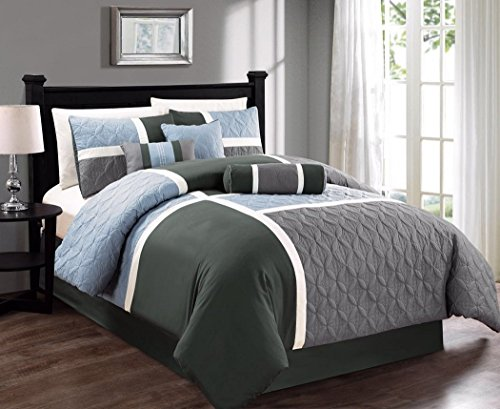 7-piece Quilted Patchwork Duvet Cover Set Queen, Gray/Charcoal/Blue