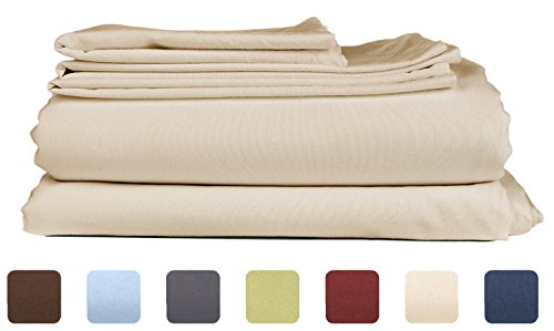 Deep Pockets – King Size Sheet Set – Hotel Luxury Bed Sheets – 4 Piece – Comfy – Beige Tan Bed Sheets – Wrinkle Free – Extra Soft – Breathable & Cooling Sheets – Kings Sheets – 4 PC – Easy Fit