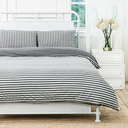 Pure Era Striped Duvet Cover Jersey Knit Cotton Soft Comfy 3 Pieces