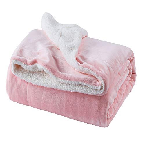Bedsure Sherpa Fleece Blanket Twin Size Pink Plush Throw