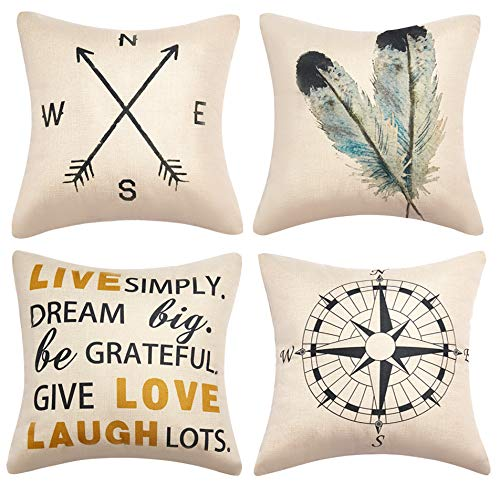 Anickal Decorative Throw Pillow Covers 18×18 Inches Set of 4 Cotton Linen Compass Arrow Feather Live Love Laugh Quote Couch Pillow Covers for Modern Simple Farmhouse Style Decor