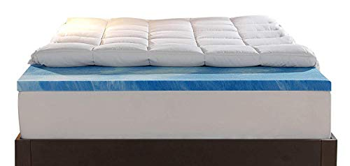 King Size – Sleep Innovations Gel Memory Foam 4-inch Dual Layer Mattress Topper, Made in The USA with a 10-Year Warranty