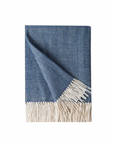 Bourina Decorative Herringbone Faux Cashmere Fringe Throw Blanket Lightweight Soft Cozy for Bed or Sofa Farmhouse Outdoor Throw Blankets, 50″ x 60″, Navy