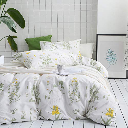Botanical Duvet Cover Set, 100% Cotton Bedding, Yellow Flowers and Green Leaves Floral Garden Pattern Printed on White 3pcs, Full Size – Wake In Cloud