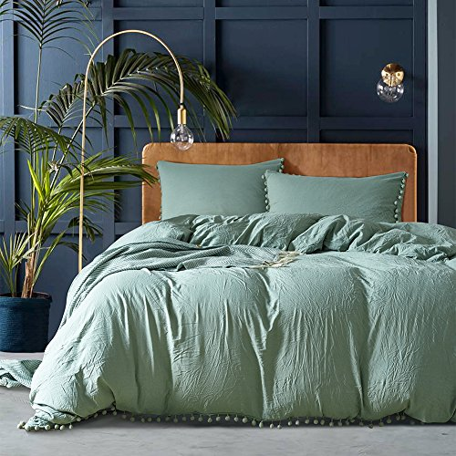AiMay Pom Poms 3 Piece Duvet Cover Set 1 Duvet Cover + 2 Pillowcases Stone-Washed Brushed Luxury 100% Super Soft Microfiber Bedding Collection Sage/Dark Sea Green, Queen