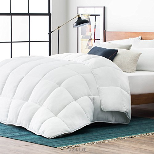 LUCID Alternative Comforter Hypoallergenic-All Season-400 GSM-Ultra Soft and Cozy-8 Duvet Loops-Box Stitched-3 Year Warranty-Machine Washable-Oversized King, White