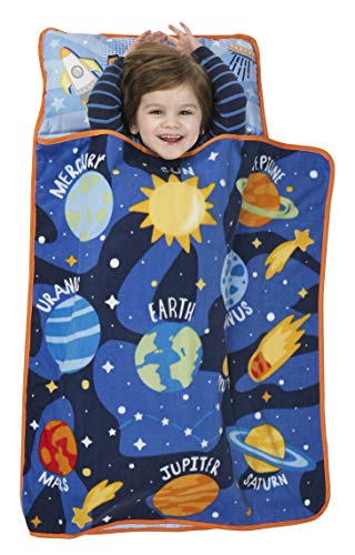 Fits Napping Toddlers or Children – Great for Kids Sleeping at Daycare, Preschool, or Kindergarten – Includes Pillow and Fleece Blanket – Baby Boom Explore Planets & Outer Space – Kids Nap Mat Set