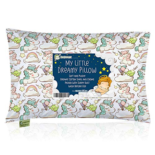 13X18 Soft Organic Cotton Baby Pillows for Sleeping – Toddlers, Kids, Infant – Toddler Pillow with Pillowcase – Perfect for Travel, Toddler Cot, Bed Set Unicorn Dreams – Washable and Hypoallergenic