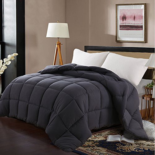 "Edilly Luxury Down Alternative Quilted Queen Comforter-Stand Alone Comforter for Queen Size Bed,Year Round Duvet Insert with 4 Corner Tabs,88""x 88""Darkgrey"