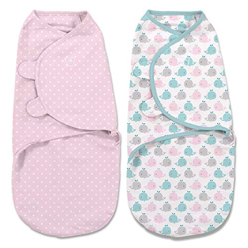 Pink Polka, Small 0-3 Months, 7-14 Lb, or up to 26-inches, Whales Pink/Stars – SwaddleMe Original Swaddle 2-pk