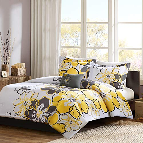 Mi Zone – Allison Comforter Set – Floral Pattern – Includes 1 Comforter, 1 Decorative Pillow, 2 Shams – Full/Queen – Yellow