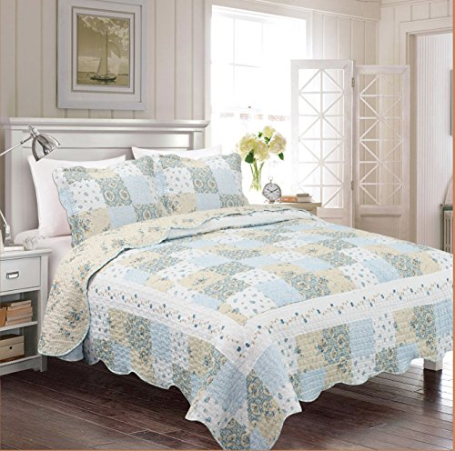 Fancy Collection 3pc Bedspread Bed Cover Floral Off White Blue Beige Reversible New # Mdison Full/Queen