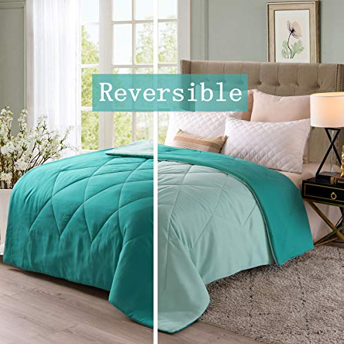 Exclusivo Mezcla Lightweight Reversible Down Alternative Quilted Comforter Duvet for All Seasons, Twin Size, Teal Green