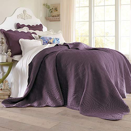 Plum, King – BrylaneHome Florence Oversized Bedspread