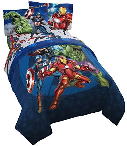 Jay Franco Marvel Avengers Blue Circle 4 Piece Twin Bed Set,