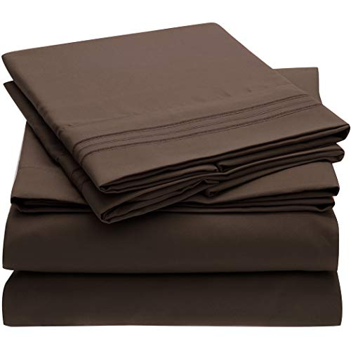 Hypoallergenic – Mellanni Bed Sheet Set – Brushed Microfiber 1800 Bedding – 4 Piece King, Brown – Wrinkle, Fade, Stain Resistant