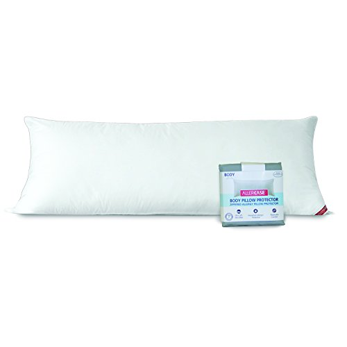 AllerEase 100% Cotton Allergy Protection Body Pillow with Zippered Cover -Soft Body Pillow with Plush, Microfiber Cover, Allergist Recommended, Prevents Buildup of Dust Mites and Household Allergens