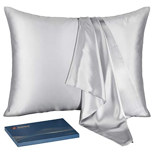 """J JIMOO Natural Silk Pillowcase,for Hair and Skin with Hidden Zipper,22 Momme,600 Thread Count 100% Mulberry Silk King 20""""×36"""", Silver Grey, 1 Piece"""