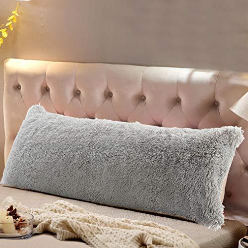 Reafort Luxury Long Hair PV Fur Body Pillow Cover/Case 21″x54″ with Hidden Zipper ClosureGrey, 21″X54″ Pillow Cover