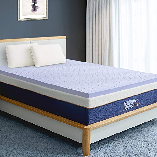 BedStory Memory Foam Mattress Topper Queen, 3 Inch Lavender Infused Foam Mattress with Microfiber Fitted Cover, Memory Foam Mattress Pad Bed Topper with CertiPUR-US, Ventilated Design