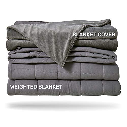 Heavy Full / Queen Size Grey 2 Piece Set, Glass Beads Filled Comfortable Sensory Blanket with Soft Removable Duvet Cover – Sleep Mantra Adult Weighted Blanket 15 lbs