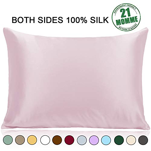 Ravmix 100% Pure Natural Mulberry Silk Pillowcase Standard Size for Hair and Skin with Hidden Zipper, 21 Momme 600 Thread Count Hypoallergenic Soft Breathable 1pcs 20×26inches, Light Plum