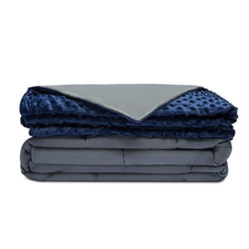Quility Premium Adult Weighted Blanket & Removable Cover | 30 lbs | 86″x92″ | for Individual or Couples Between 220-280 lbs | Queen/King Size Bed | Premium Glass Beads | Cotton/Minky | Grey/Navy Blue