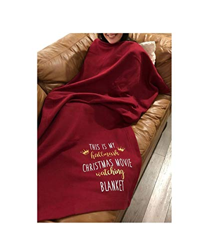 CUTIEE This is My Hallmark Chiristmas Movie Watching Blanket Home Fleece Blanket Red Throw Blanket for Couch Bed Soft Microfiber Fuzzy Flannel Blanket for Holiday 51×63 Inches Red, One Size