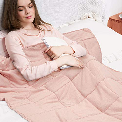 ZZZNEST Weighted Blanket Adult 48″x72″, 12 lbs, 7-Layer Design, Premium Soft Peach Skin Velvet and Micro Glass Beads Heavy Blanket for Improving Sleep, Twin Size, Light Pink