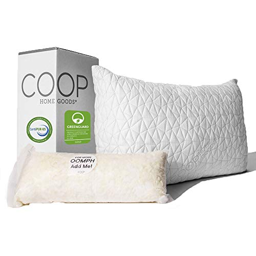 Lulltra Washable Cover from Bamboo Derived Rayon – Queen – CertiPUR-US/GREENGUARD Gold Certified – Hypoallergenic Cross-Cut Memory Foam Fill – Coop Home Goods – Premium Adjustable Loft Pillow