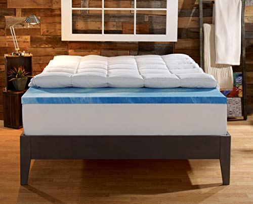 Sleep Innovations Gel Memory Foam 4-inch Dual Layer Mattress Topper, Made in The USA with a 10-Year Warranty – Queen Size