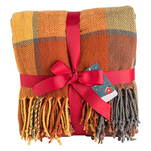 Orange Plaid Blanket Throw Acrylic Soft Reversible Dyed Fringed Bed Blanket Perfect for Christmas Decorations 50″ W x 67″ L -Color Pumpkin
