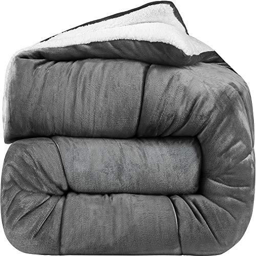 Goose Down Sherpa Comforter King – Grey – All Season Alternative Fleece Comforter – Utopia Bedding