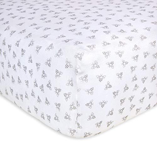 Burt's Bees Baby – Fitted Crib Sheet, Girls & Unisex 100% Organic Cotton Crib Sheet for Standard Crib and Toddler Mattresses Heather Grey Honeybee Print