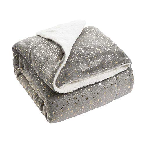Bedsure Metallic Sherpa Fleece Blanket Throw Size Grey Plush Throw Blanket Fuzzy Soft Blanket Microfiber