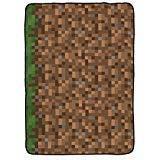 Jay Franco Minecraft Grass Plush Silk Blanket, Brown