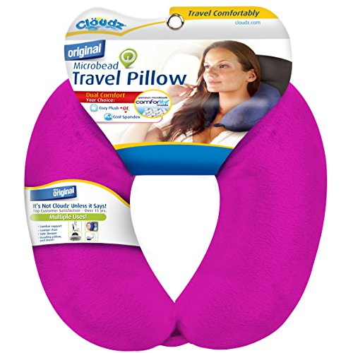 Bright Pink – Cloudz Dual Comfort Microbead Travel Neck Pillow