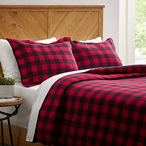 Stone & Beam Rustic Buffalo Check Flannel Duvet Cover Set, Full / Queen, Red and Black