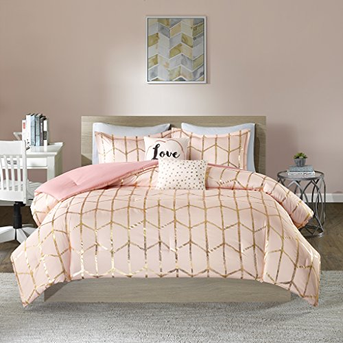 Intelligent Design Raina Comforter Set Full/Queen Size – 5 Piece Bed Sets – Ultra Soft Microfiber Teen Bedding for Girls Bedroom – Blush Gold, Geometric
