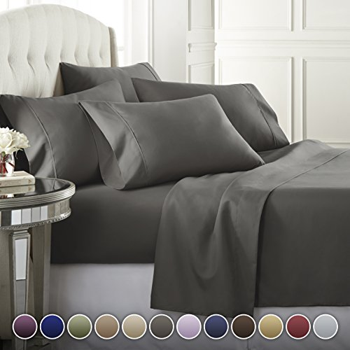 6 Piece Hotel Luxury Soft 1800 Series Premium Bed Sheets Set, Deep Pockets, Hypoallergenic, Wrinkle & Fade Resistant Bedding SetKing, Gray