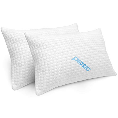 Bamboo Cooling Hypoallergenic Sleep Pillow for Back and Side Sleeper – Queen Size – 2 Pack Shredded Memory Foam Bed Pillows for Sleeping