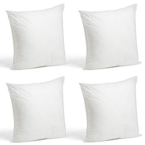 Foamily Set of 4-18 x 18 Premium Hypoallergenic Stuffer Pillow Inserts Sham Square Form Polyester, 18″ L X 18″ W, Standard/White