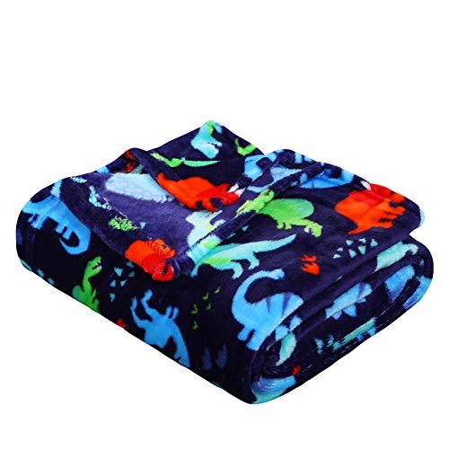 Dino Time – Summertime Whimsy Plush Fleece Throw Blanket 50″ x 60″
