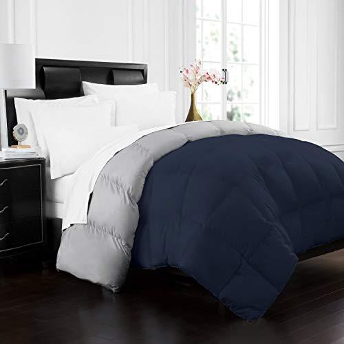 Navy/Sleet – Twin/Twin XL – Beckham Hotel Collection 1700 Series Luxury Goose Down Alternative Reversible Comforter – Duvet – All Season – Premium Hypoallergenic