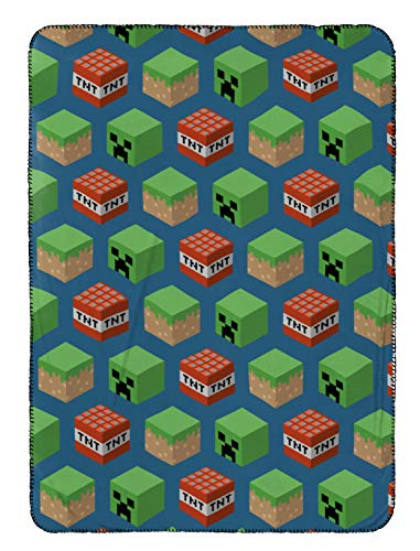 Measures 40 x 50 inches, Kids Bedding Features Mineral Blocks – Official Mojang Product – Jay Franco Mojang Minecraft Travel Blanket – Fade Resistant Super Soft Fleece